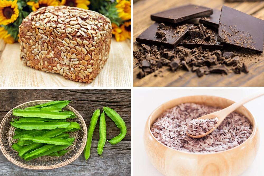 Vollkornbrot, Zartbitterschokolade, Goabohnen und Reis