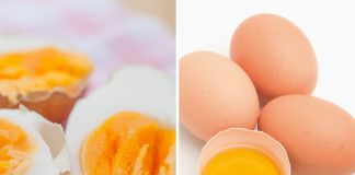 rohe und gekochte Eier