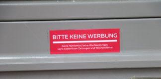 Bitte keine Werbung Briefkastenaufkleber