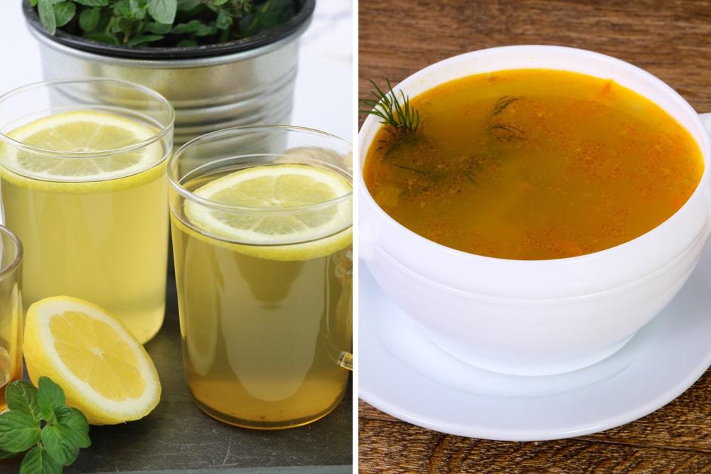 Zitrone und Hühnersuppe