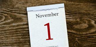 Änderung ab November Kalenderblatt