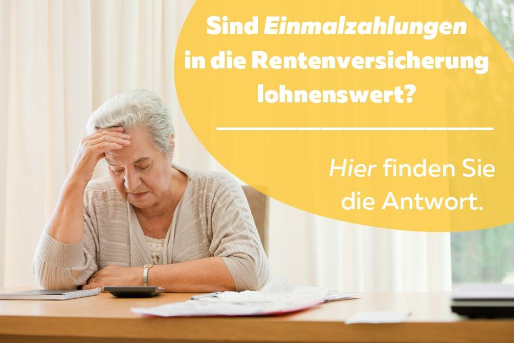 Einmalzahlung Rente Frau rechnet