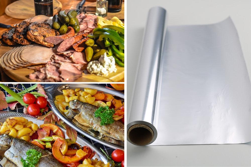 Lebensmittel Alufolie Titel Essen Rolle