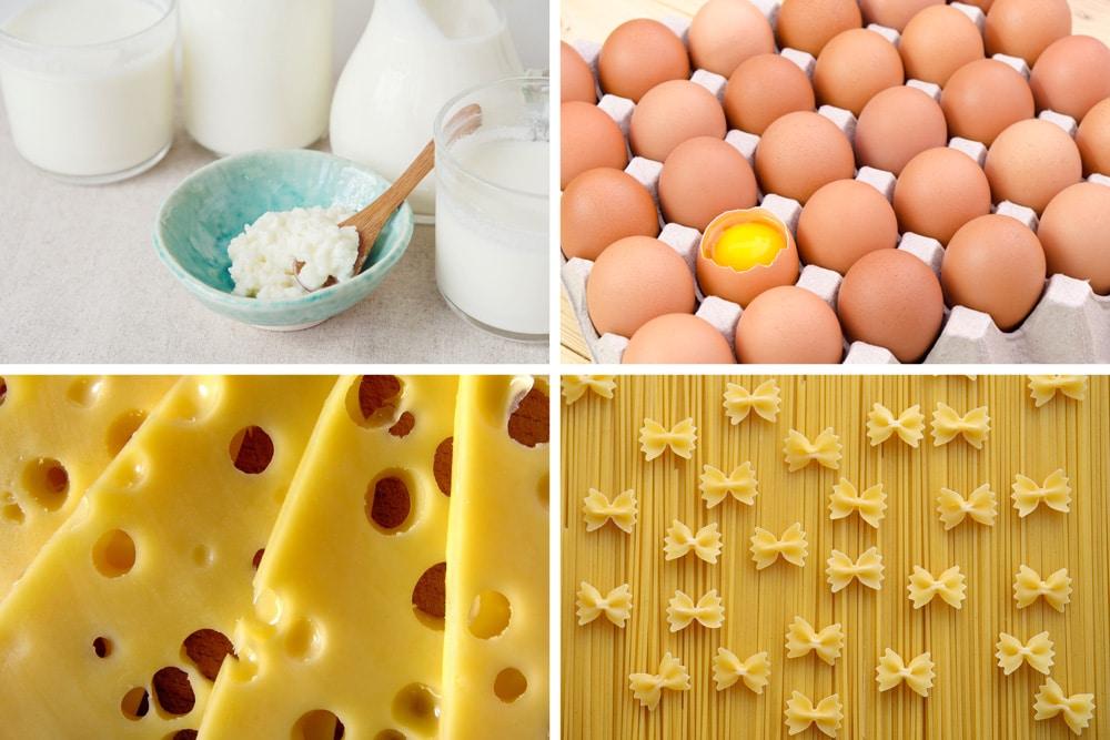 Lebensmittel Verfallsdatum Collage Lebensmittelgruppen