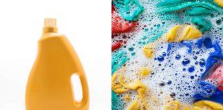 Waschmittel enzymfrei Flasche Wäsche Collage