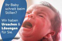 Baby schreit beim Stillen Beitragsbild schreiendes Baby
