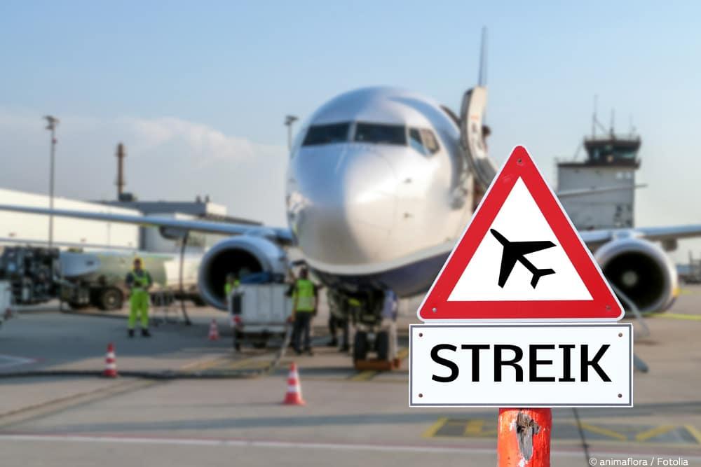 Flugausfall Rechte Flugzeug Warnschild Streik