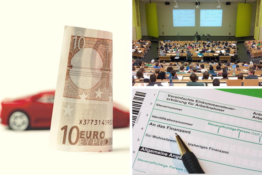 Zweitwohnsitz Collage aus Steuererklärung, Universität & Kfz-Steuer-Ersparnis