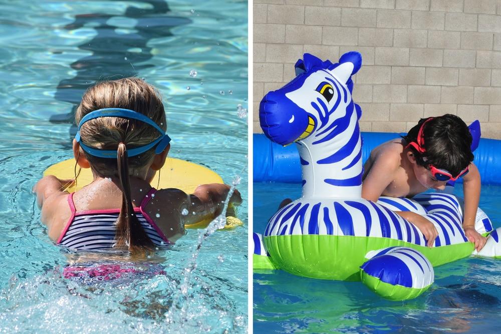Schwimmbrett und aufblasbares Tier