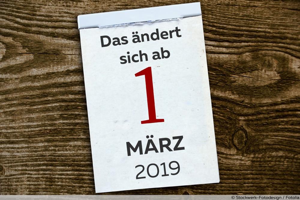 Kalenderblatt mit Änderungen ab März 2019