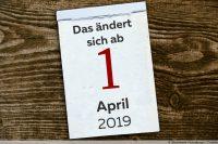 Änderungen für den Verbraucher - Kalenderblatt April 2019