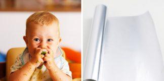 Alufolie verschluckt - Baby beim Essen und Rolle Alufolie