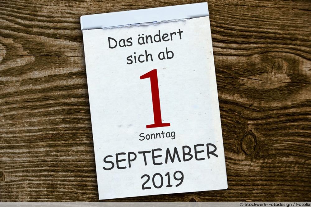 Kalenderblatt Änderungen ab September 2019